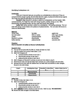 Identifying Carbohydrates Lab