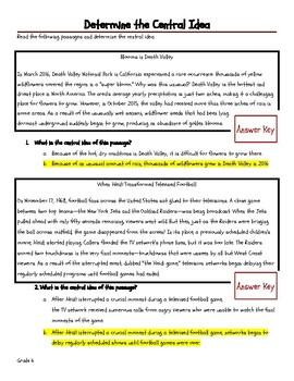 Identifying Central Idea - Grade 6