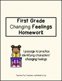 Identifying Changing Feelings Passages (Homework)- First Grade