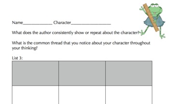 Identifying Character Elements and Traits Packet