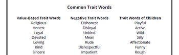 Identifying Character Traits - Linked to Reading