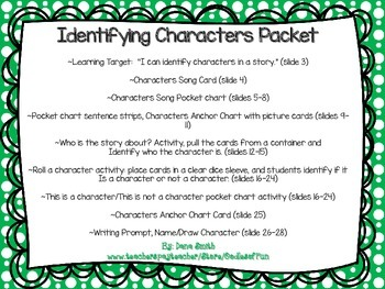 Identifying Characters Packet