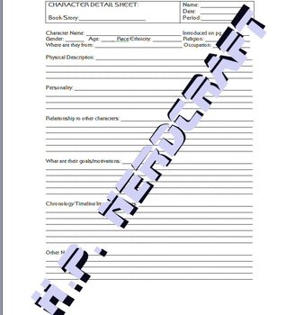 Identifying Characters - Reading Comprehension Character Detail Worksheets