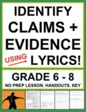 Identifying Claims & Relevant Evidence - using Song Lyrics