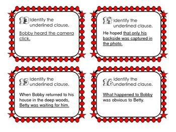 Identifying Clauses Task Cards