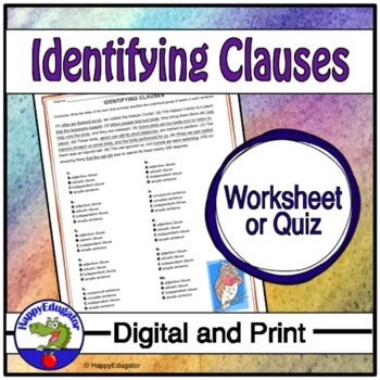 Clauses - Identifying Clauses Worksheet or Quiz