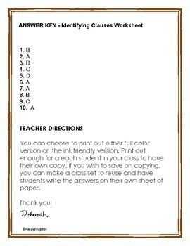 identifying clauses grammar worksheet or quiz by happyedugator tpt. Black Bedroom Furniture Sets. Home Design Ideas