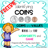 Identifying Coins and Values {FREEBIE} - worksheets/game (P, N, D, Q)