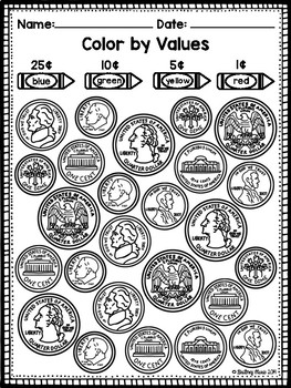 identifying coins coloring worksheet by brittney marie tpt. Black Bedroom Furniture Sets. Home Design Ideas