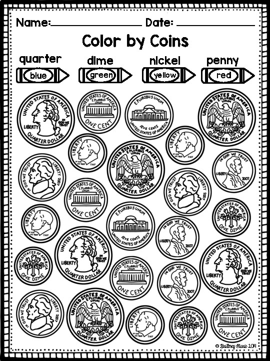 Identifying Coins And Values Coloring Worksheets By