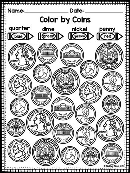 Identifying Coins Worksheet Teachers Pay Teachers - View Identifying Coins Beginner Money Worksheets For Kindergarten Images