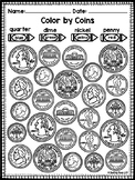 Identifying Coins and Values Coloring Worksheets