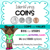 Identifying Coins and Values (P, N, D, Q) - Worksheets/Games/Activities