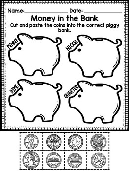 Identifying Coins- Quarter, dime, nickel and penny sort