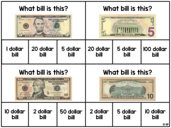 Identifying Coins and Bills (and their Values) Task Cards