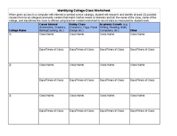 Identifying College Classes Worksheet/Assessment