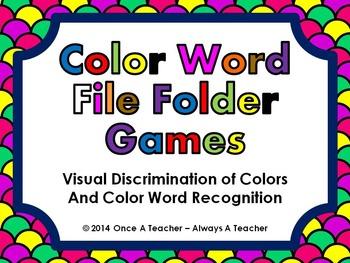 Identifying Colors / Reading Color Words - File Folder Gam