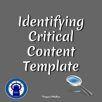 Identifying Critical Content Template for All Subject Areas