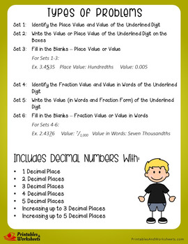 Identifying Decimal Place Value and Value Worksheets with Answer Keys