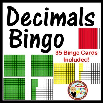 Decimals Bingo - Identifying Models Classroom Game w/ 35 Bingo Cards!