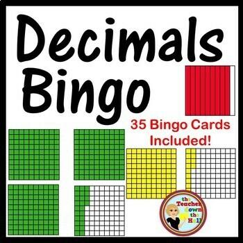 Decimals Bingo - Identifying Models Classroom Game w/ 35 B