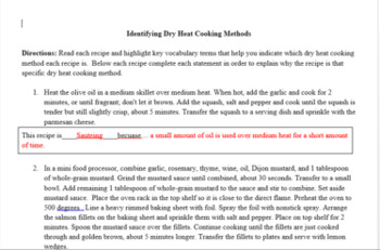 Identifying Dry Heat Cooking Methods Activity