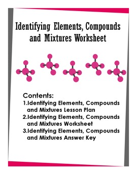 Identifying Elements, Compounds and Mixtures Worksheet | TpT