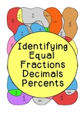 Identifying Equal Fractions Decimals Percents Coloring Activity PDF Printable