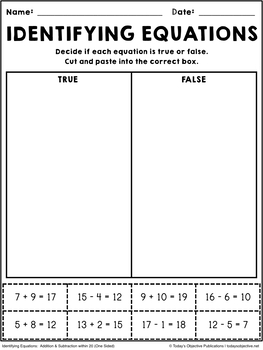 Identifying Equations (First Grade Cut and Paste)
