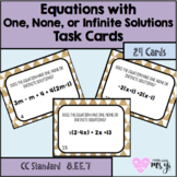 Identifying Equations with One, None or Infinite Solutions Task Card & Worksheet