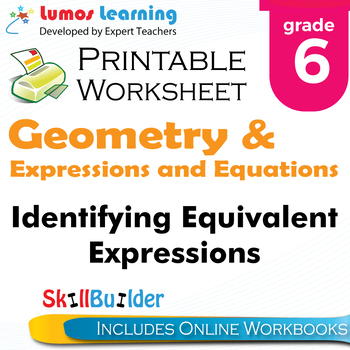Identifying Equivalent Expressions Printable Worksheet, Grade 6