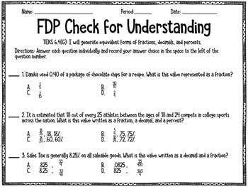 Identifying Equivalent Fractions, Decimals, and Percents (STAAR Test Prep /6.4G)