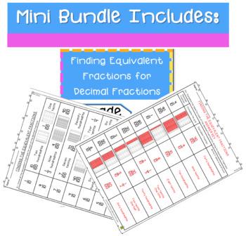 Identifying Equivalent Fractions Of Decimal Fractions - Mini-Bundle (4.NF5)