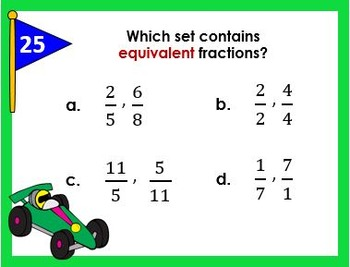 Identifying Equivalent Fractions Task Cards