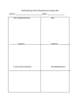 Identifying & Evaluating Arguments Chart