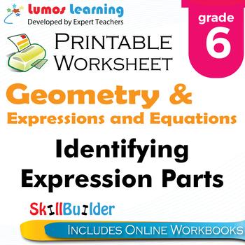Identifying Expression Parts Printable Worksheet, Grade 6