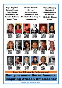 Identifying Famous African Americans Poster w/ QR Codes