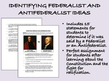 Identifying Federalist and Antifederalist Ideas - US Histo