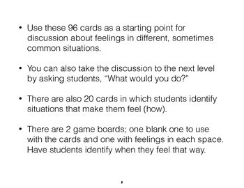 Identifying Feelings in Situations Telling How You Feel Cards and Game