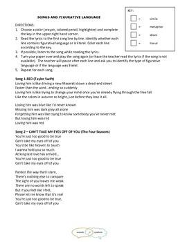 Identifying Figurative Language - 2 Activities