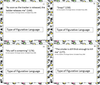 Identifying Figurative Language in Book Quotes Task Cards