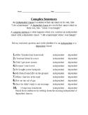 Identifying, Finishing, and Writing Complex Sentences