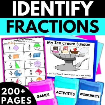 Identifying Fractions Worksheet Teaching Resources | Teachers Pay ...