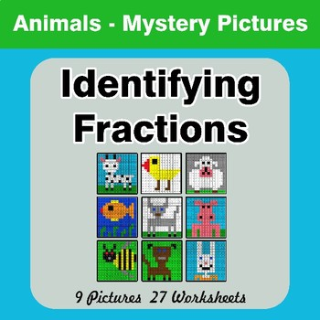 Identifying Fractions | Animals Math Mystery Picture Worksheets