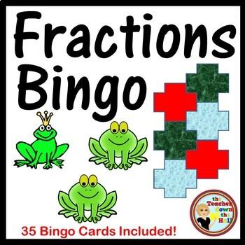 Fractions - Identifying Fractions Bingo (Classroom Activity w/ 35 Bingo Cards!)