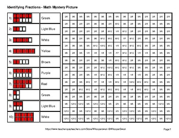 Identifying Fractions | Christmas Math Mystery Picture Worksheets