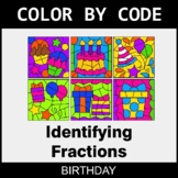 Identifying Fractions - Color by Code / Coloring Pages - Birthday