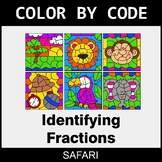 Identifying Fractions - Color by Code / Coloring Pages - Safari