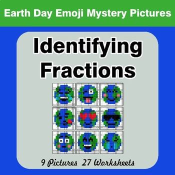 Identifying Fractions | Earth Day Emoji Math Mystery Picture Worksheets