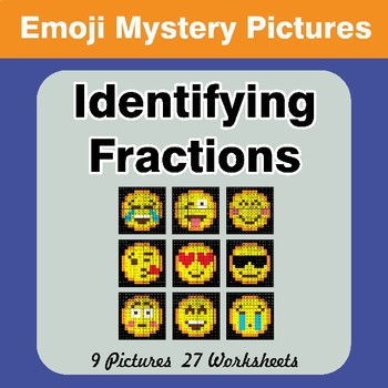 Identifying Fractions | Emoji Math Mystery Picture Worksheets